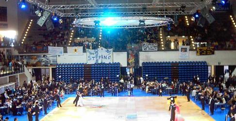 Allestimento dei Campionati italiani di ballo
