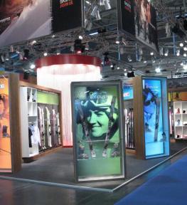 Realizzazione stand per fiera esposizione sciistica Dynastar attrezzatura ed accessori per sport invernali