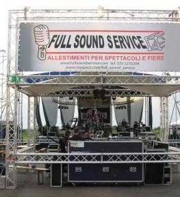 Struttura per palco e copertura con logo per eventi e manifestazioni
