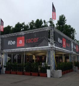 Montaggio struttura per manifestazione sportiva #be a racer, autodromo Enzo e Dino Ferrari, Imola
